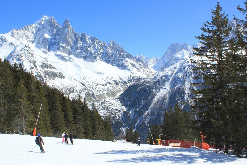 Skiing in La Flegere - approach to cable car Liason, connecting Flegere and Brevent ski areas.