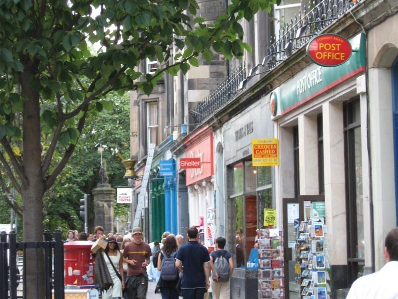 Forrest Road near Greyfriars Churchyard with shops, cafes, bars and restaurants