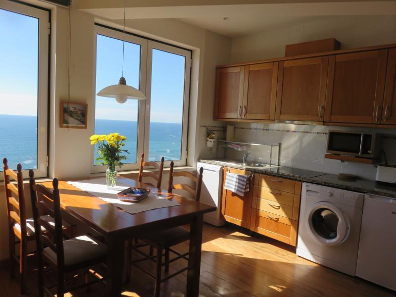 Blick in den Küchenbereich-Einfach phantastisch der Ausblick am Essplatz