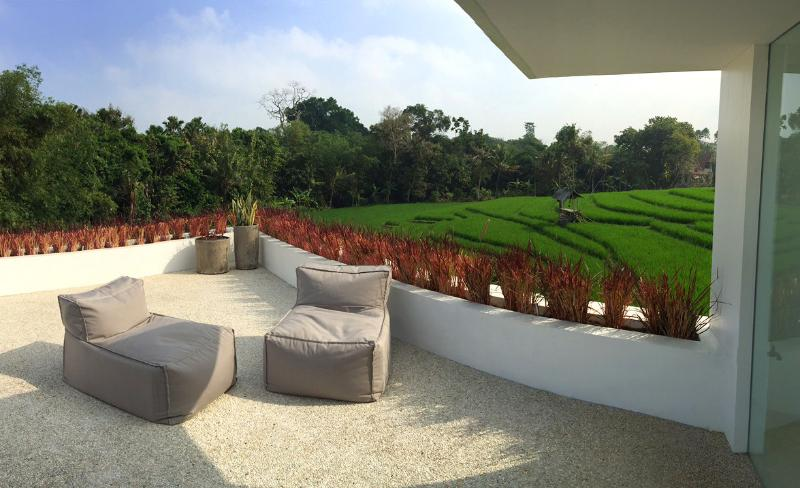 View of rice paddy fields from upper deck area. Great for relaxing with a glass of wine at night.
