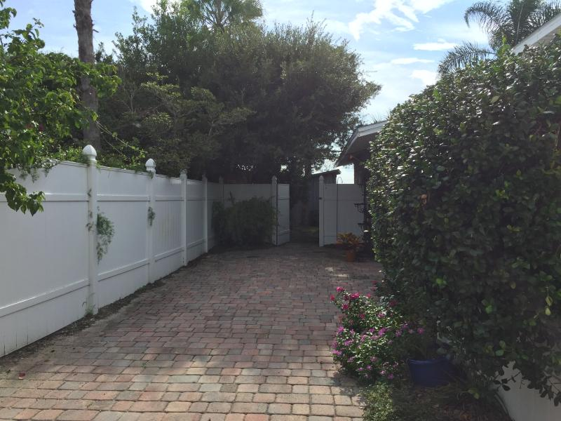 private driveway into the back yard gate