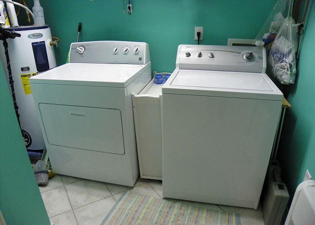 The laundry room offers a washer and dryer for your convenience.