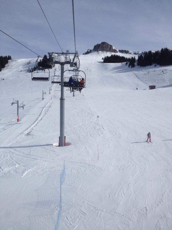 Modest skiing, fantastic views, access to slopes couldn't be much closer from our apartment