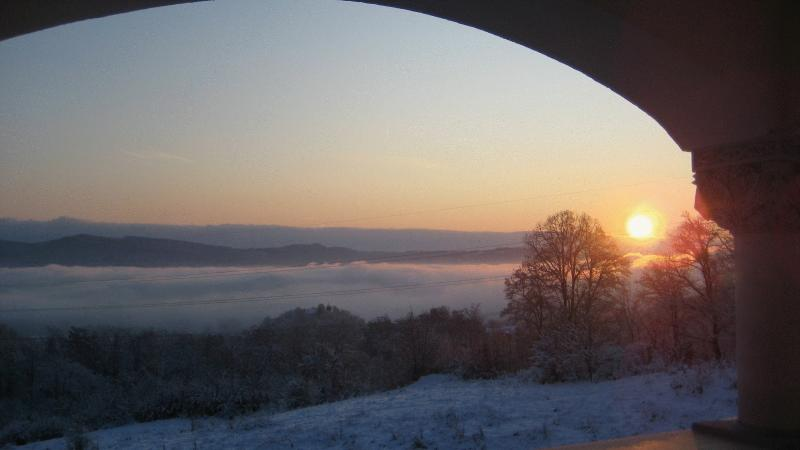 View of the sunrise in the winter from the big verandah (Cerdacul Mare)