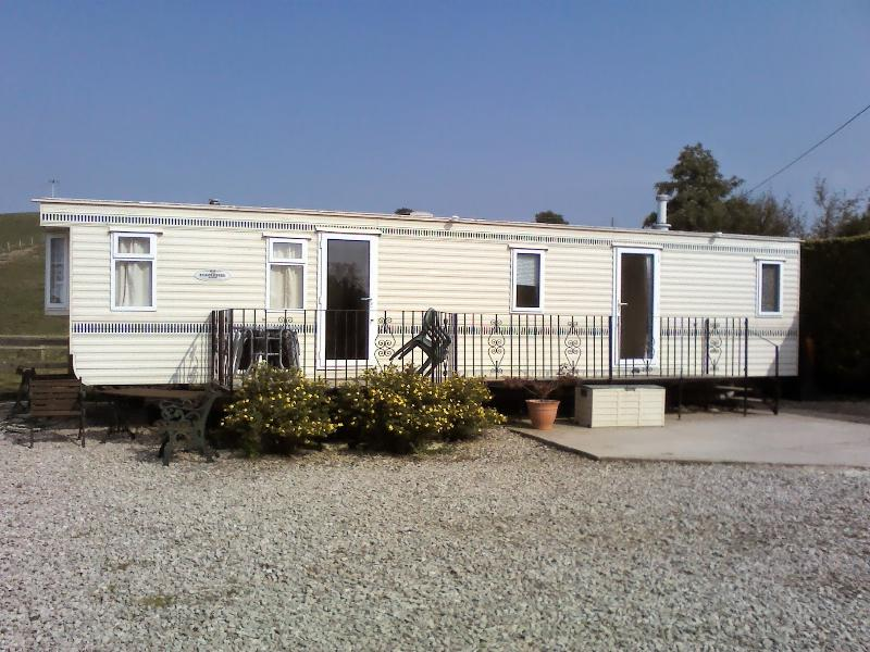 2 bedroomed caravan (12 ft wide) very spacious & private