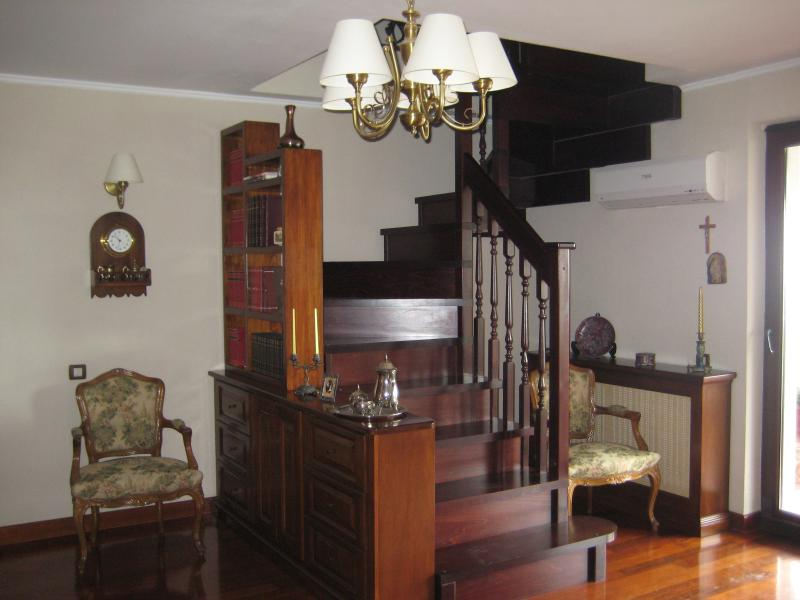 Staircase from the living room to the bedroom