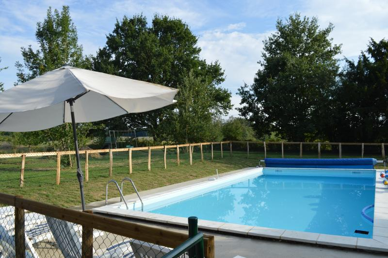 Relax in the heated pool
