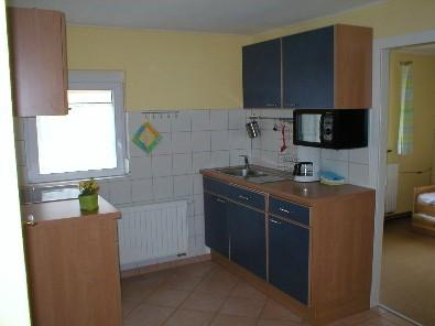 Fitted kitchen with dishwasher, fridge with freezer, oven and microwave