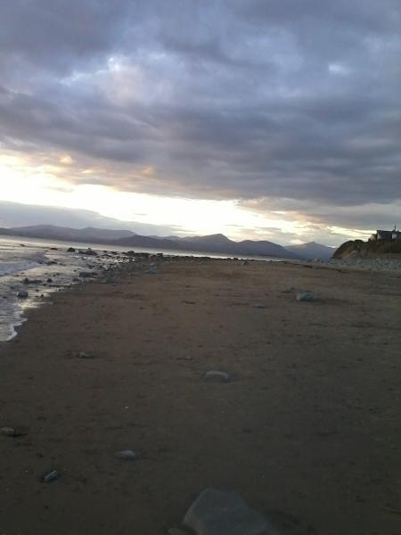 Snowdon from Llandanwg beach at sunset