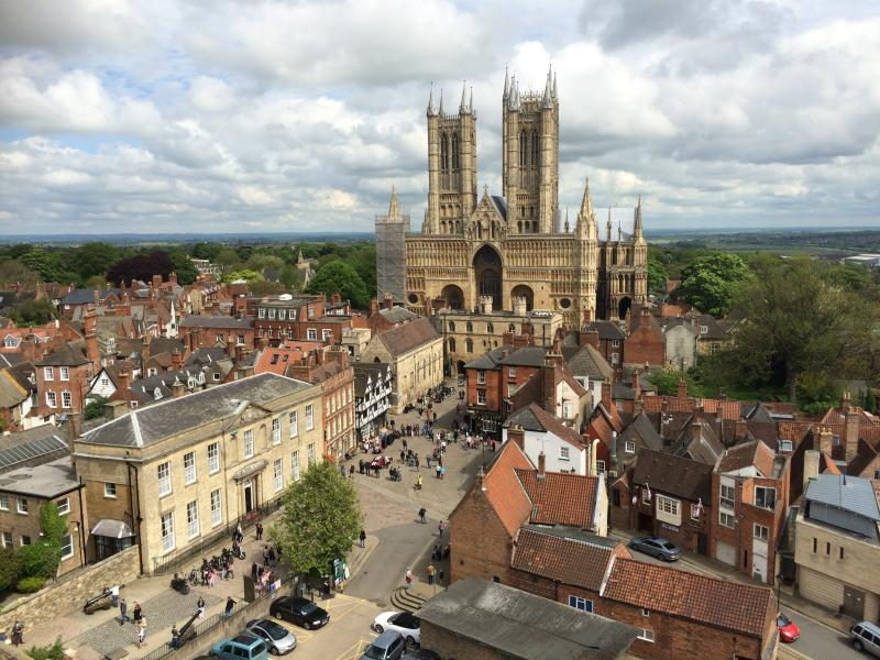 Lincoln Cathedral shown from Castle wall