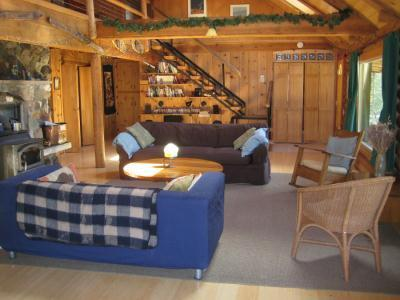 affascinante, rustico soggiorno con stufa a legna e lucernari