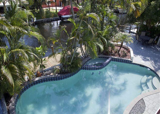 Overhead view pool/patio
