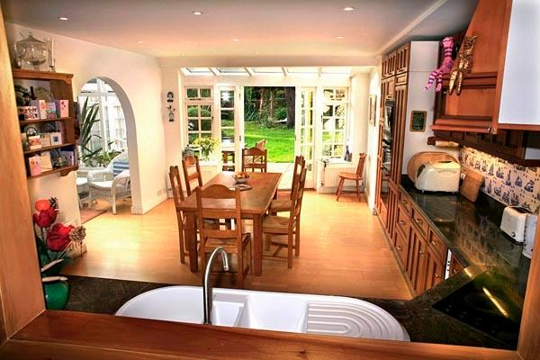 This is our spacious Kitchen with french doors onto the patio and garden