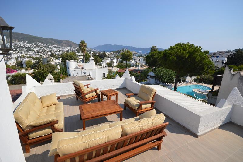 Best view from terrace to Bodrum City Center, Aegean Sea, Bodrum Castle, Swimming Pool and Garden