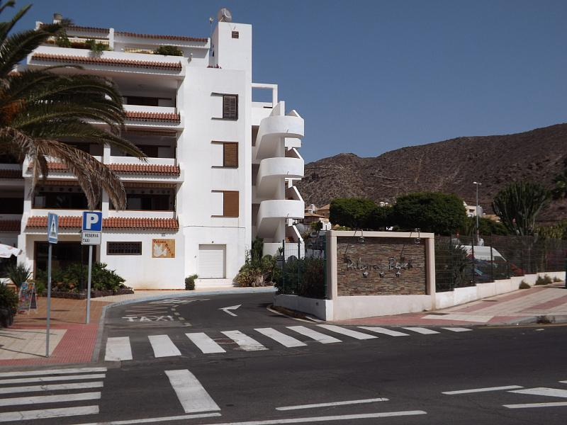 Entrance of the apartment complex Paloma Beach in Los Cristianos