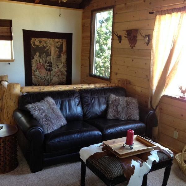 Great room with leather hideabed sofa and 50' TV, wood stove fire place and panoramic views