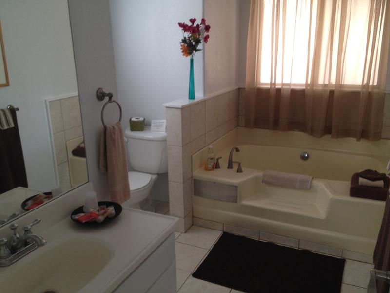 En suite master bathroom with soaking tub and separate shower