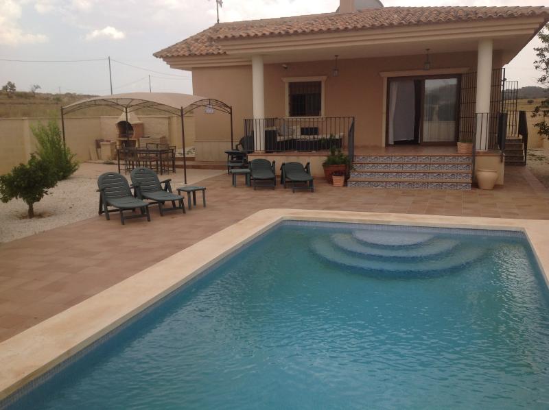 La villa et la piscine avec coin barbecue.