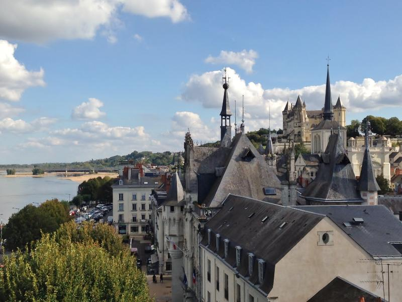 A view across the ancient rooftops of nearby Saumur from the terrace of the newly restored theatre