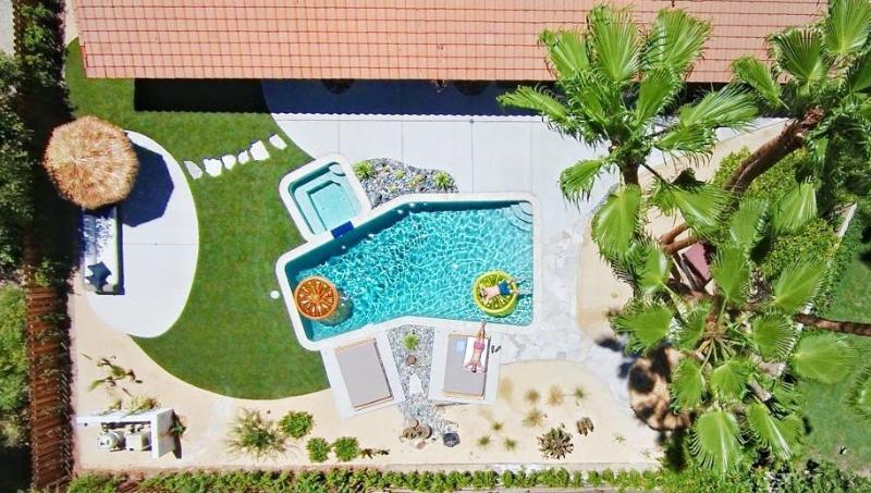Drone shot of backyard
