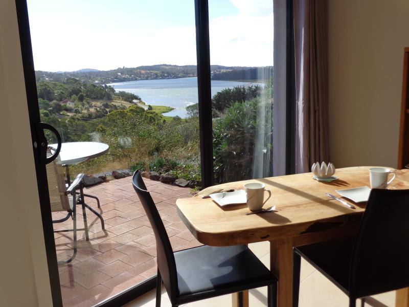 view from the studio and front patio overlooking the wide flowing Tamar River