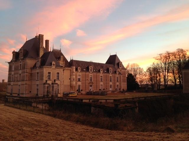 Sunrise over the Chateau; your home from home.  A warm welcome awaits you.