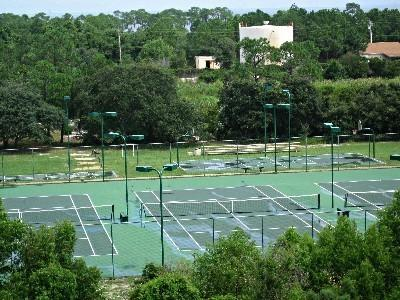 Some of the tennis courts and basketball court