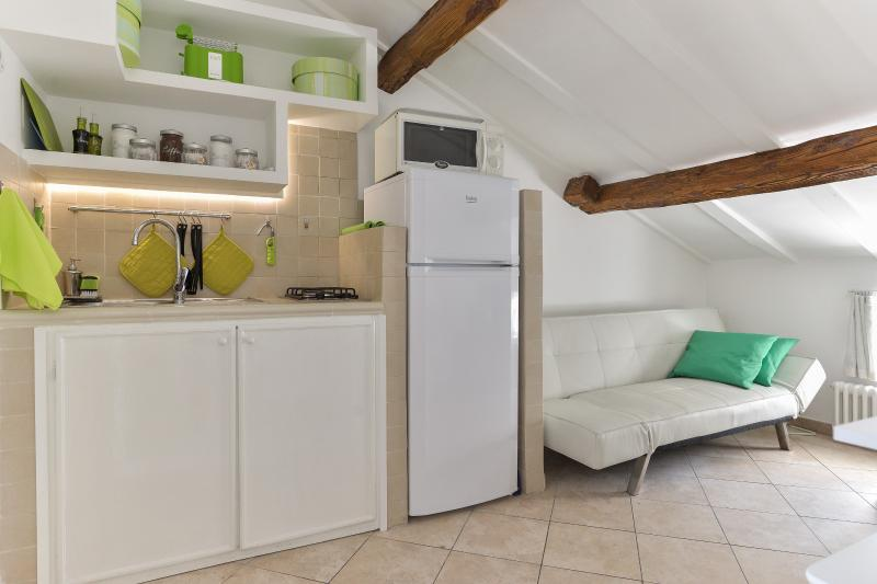 Kitchenette and sofa bed