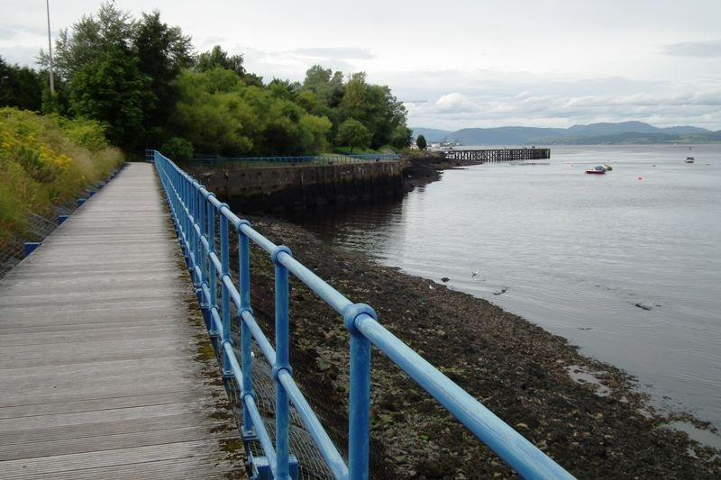 There are riverside walkways in Port Glasgow, Greenock and Gourock