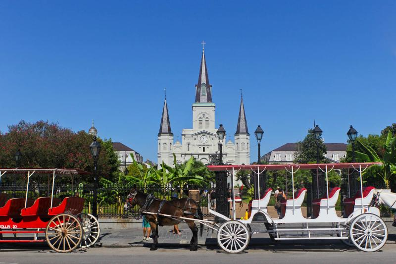 Jackson Square is approximately 6-8 blocks away.
