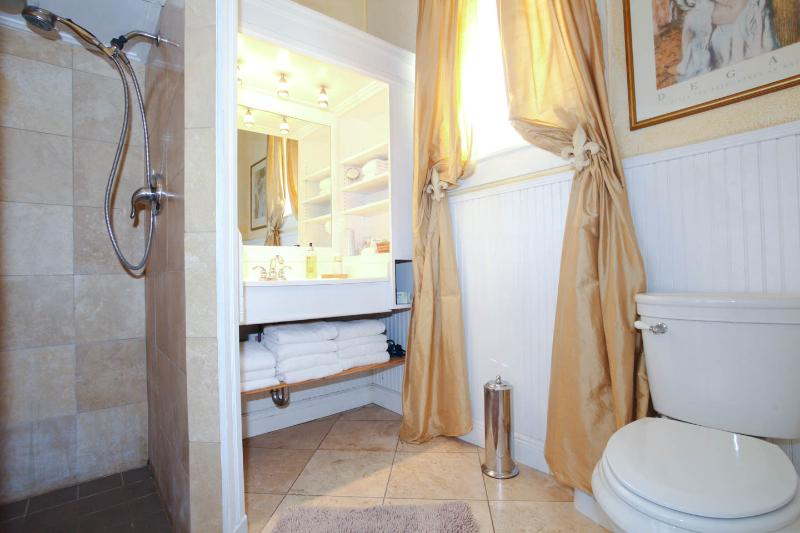 Bathroom stocked with towels.
