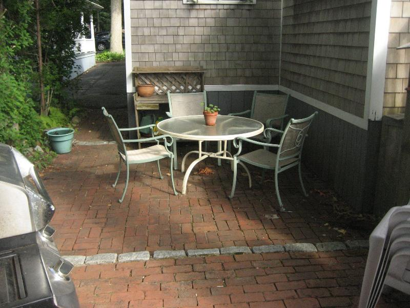 Private patio with grill