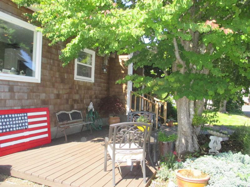 Front Deck with nice shady area to hang out and watch the surfers head to the cove!