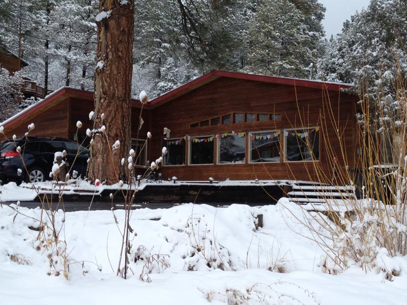 Ponderosa Pine huis in de Winter. Uw ingang is aan de rechterkant.