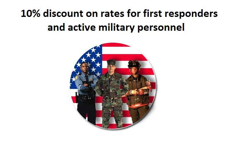 10% discount for first responders and active military