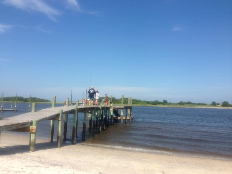 Private beach and dock.  Great fishing spot, especially for flounder