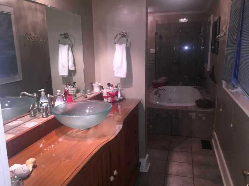 Maestro de cuarto de baño vanidad con el fregadero en gabinete de madera de teca.