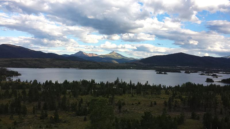 View of Dillon Reservoir from the road between the condo and Breckenridge
