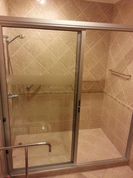 View on shower room from toilette room, door wide enough to let wheelchair users in