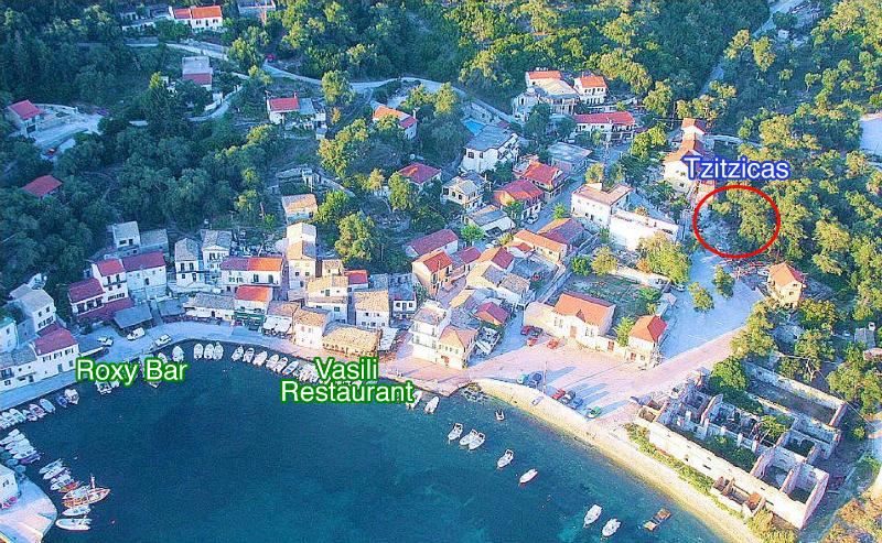 Loggos (public picture) and on the top right is Villa Tzitzicas, 90 meters from the waterfront!