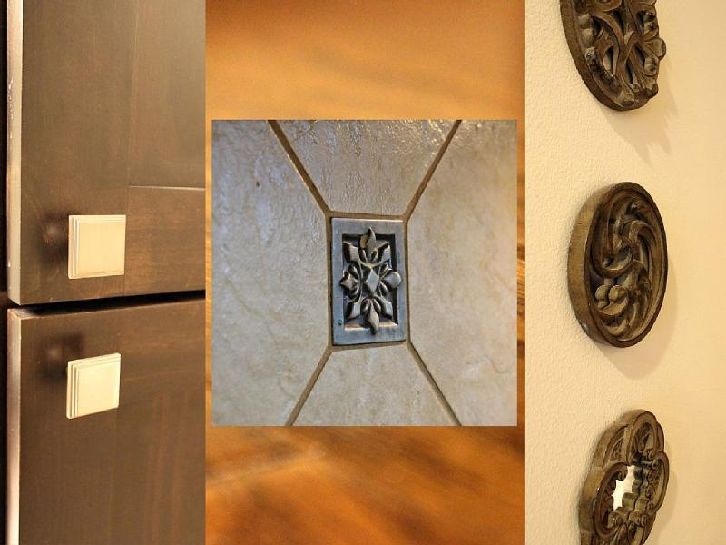 Some accents: Walnut cabinetry, backsplash, dark oak flooring.