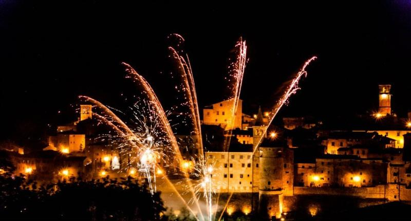 Fireworks during the celebration of the May 3 of Anghiari