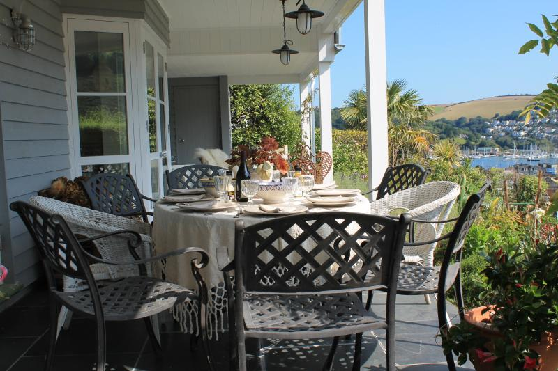 Dining on the veranda - marvellous views from the ground floor