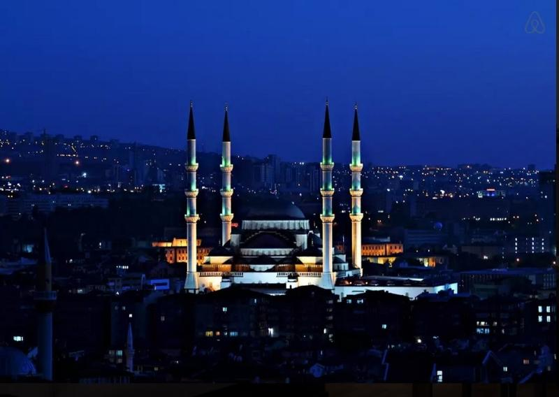 Kocatepe Mosque,  the largest mosque in Ankara, is very close to the building.