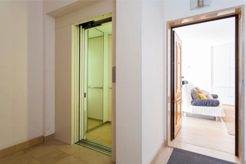 Elevator and entrance door