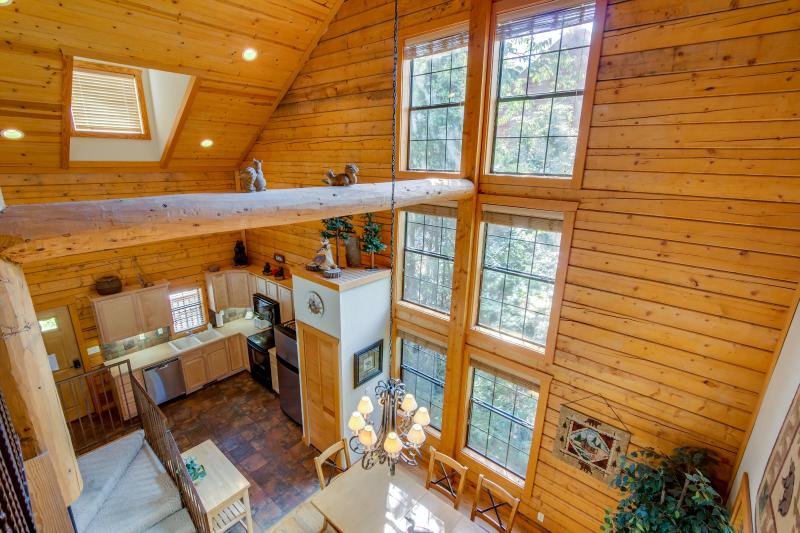 Rustic open floor plan.   A real log cabin!