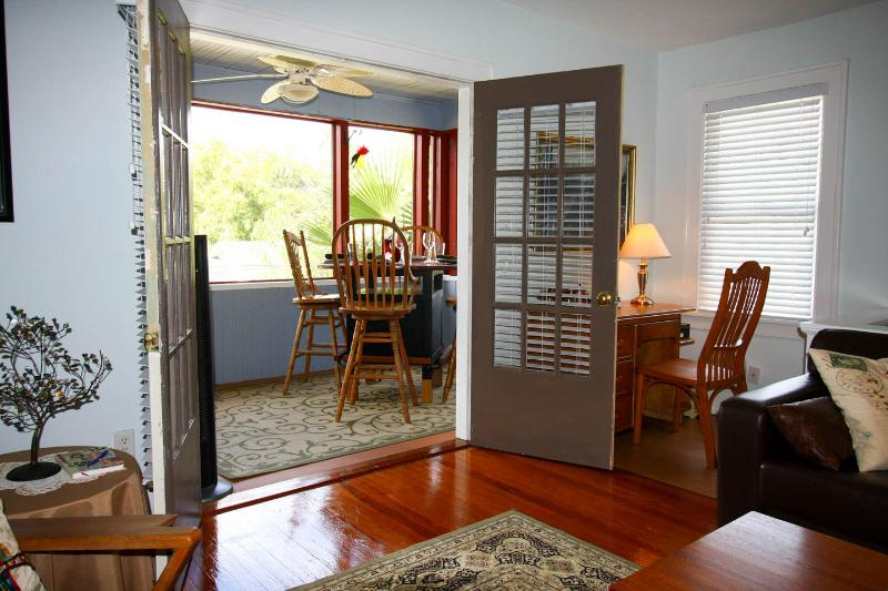 French doors open to the Veranda from the Living Room