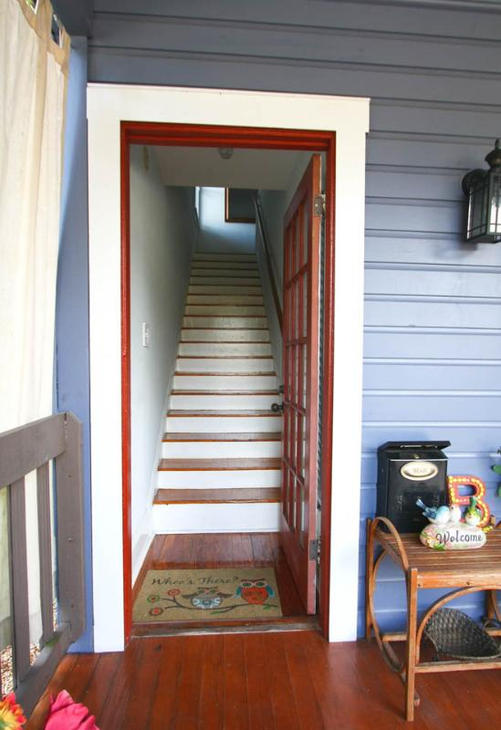 This is the private front entry to the second story apartment.