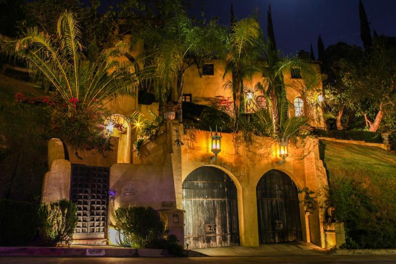 The Villa Sophia - street entrance at night.