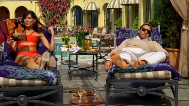 """""""Entourage"""" TV Show à La Villa Sophia. Jeremy Piven et Perrey Reeves."""